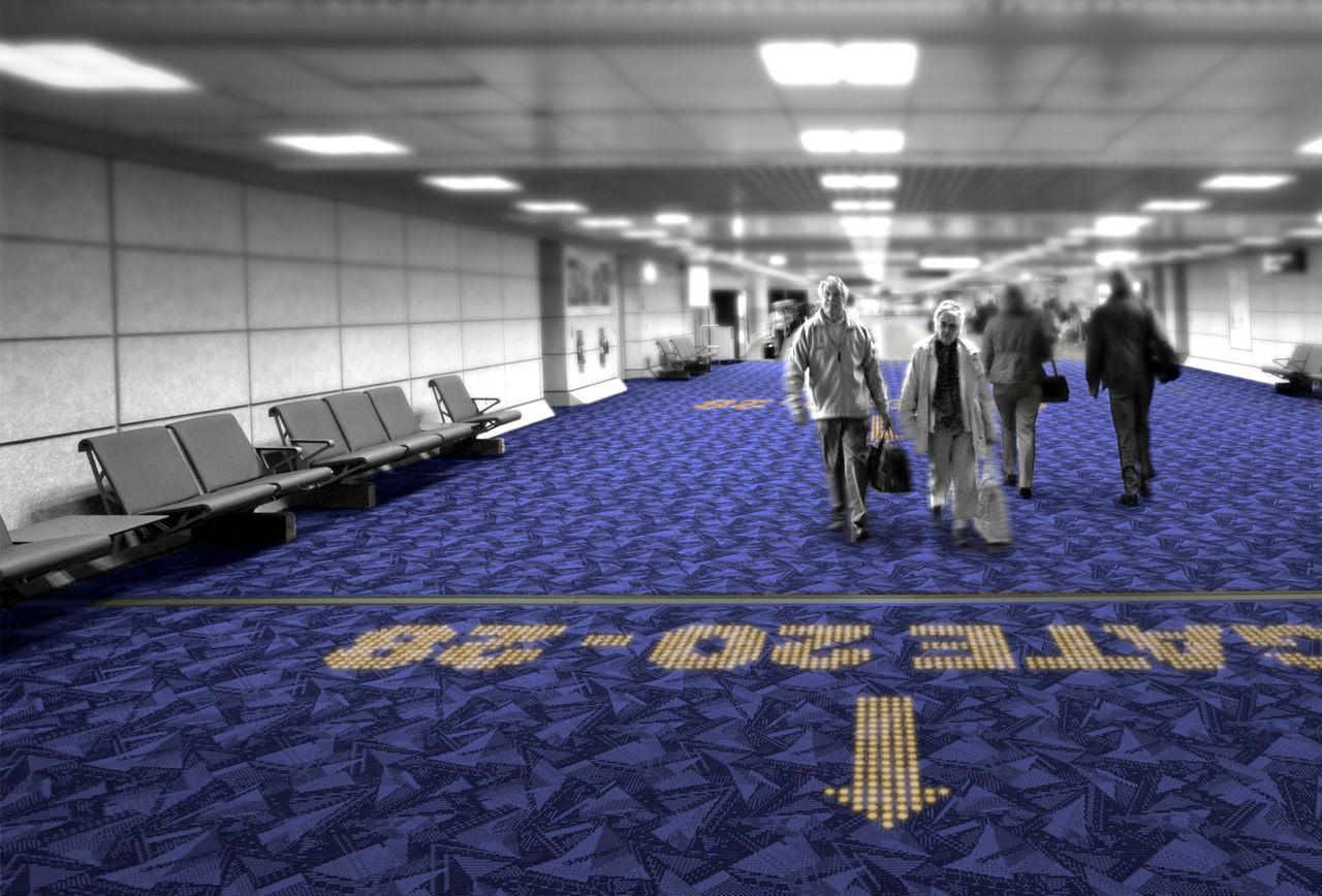 LED | Lichtdurchlässiger Teppichböden können etwa auf Flughäfen für Orientierung sorgen